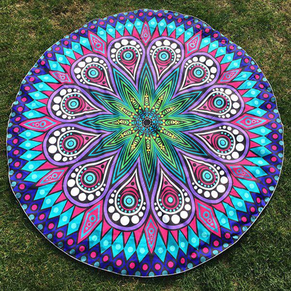 Round Plage Throw avec Crystal Flower Paisley Printed