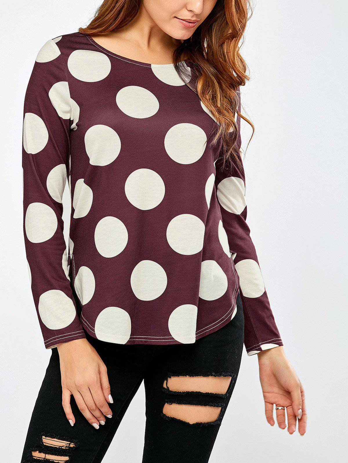 New Polka Dot High Low Hem T-Shirt
