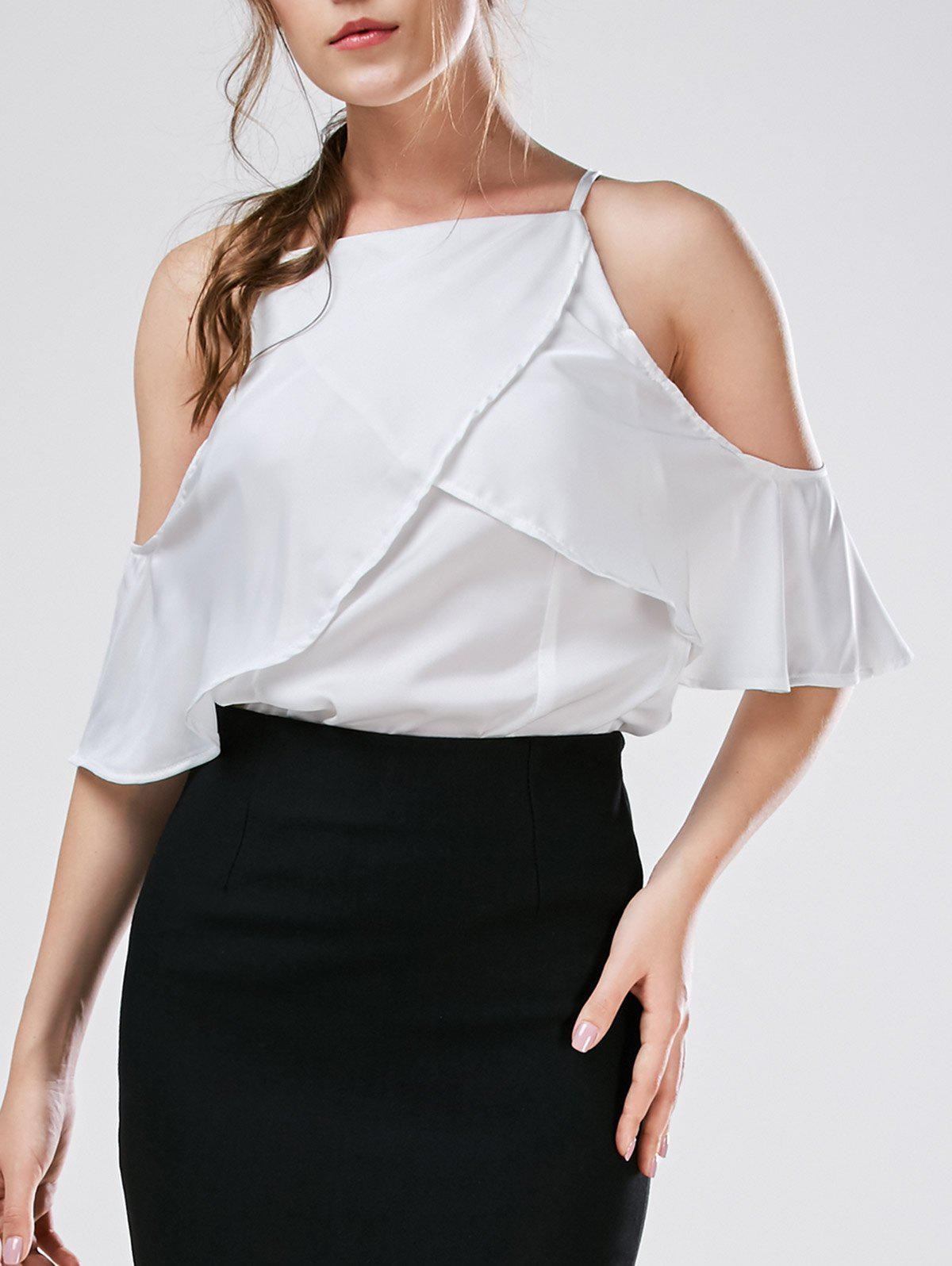 Sale Spaghetti Strap Cold Shoulder Chiffon Blouse