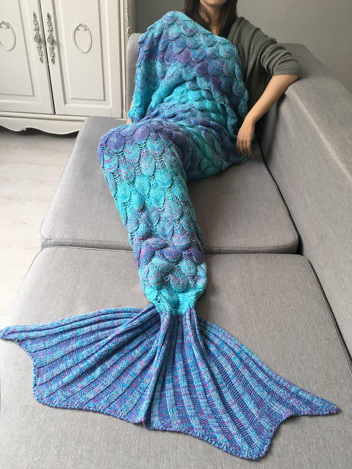 Buy Crochet Fish Scale Design Ombre Wrap Mermaid Blanket