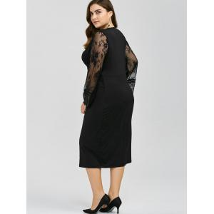 Long Sleeves Splicing Lace Bodycon Dress -
