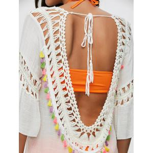 Colored Tassel See-Through Crochet Tunic Cover Up -