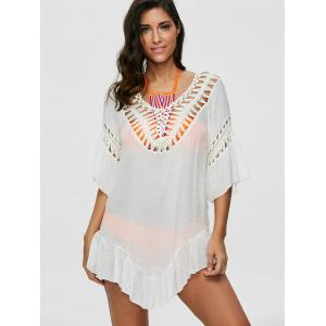 Colored Tassel See-Through Crochet Tunic Cover Up - WHITE ONE SIZE
