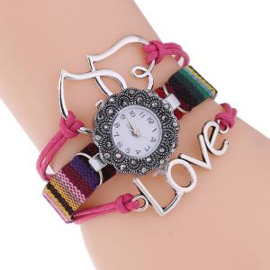 Heart Faux Leather Woven Bracelet Watch
