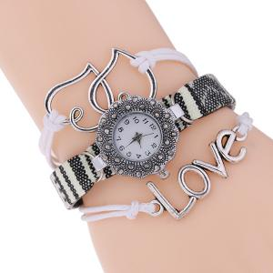 Heart Faux Leather Woven Bracelet Watch - White