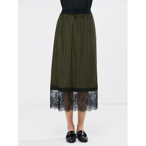Pleated Lace Panel High Waist Skirt