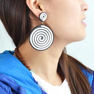 Spiral Vortex Striped Drop Earrings