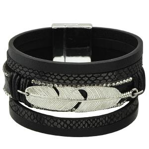 Faux Leather Feather Strand Bracelet