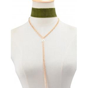 Fake Pearl Velvet Chain Layered Necklace