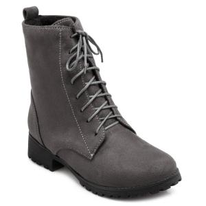 Round Toe Tie Up Short Boots - Deep Gray - 39