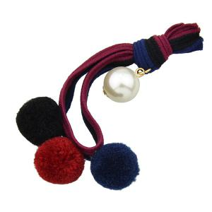 Elastic Hairband with Small Pom Ball Faux Pearl - Wine Red