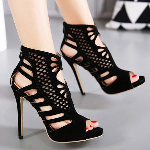 Stiletto Heel Hollow Out Peep Toe Shoes -