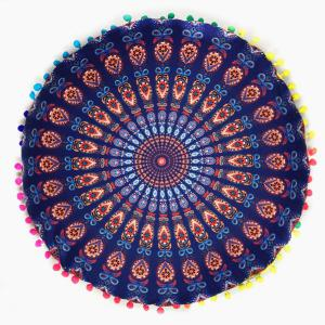Bedroom Mandala Feather Print Pompon Round Floor Cushion Pillow Case - Deep Blue - One Size