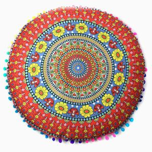 Sofa Flower Totem Print Pompon Round Floor Cushion Pillow Case