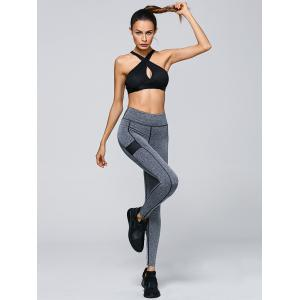 High Waisted Contrast Trim Sporty Leggings - GRAY S