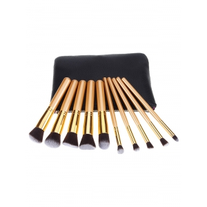 10 Pcs Makeup Brushes Set with Brush Bag - Black