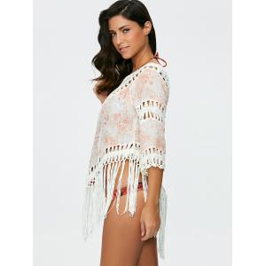 See-Through Crochet Fringe Tunic Cover Up - WHITE ONE SIZE