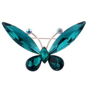 Faux Crystal Butterfly Shape Design Brooch - Blackish Green