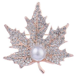 Faux Pearl Rhinestone Maple Leaf Shape Design Brooch