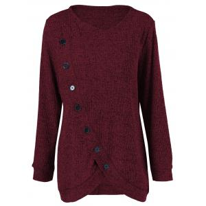 Long Sleeve Plus Size Button Up Overlap Cardigan - Dark Red - Xl