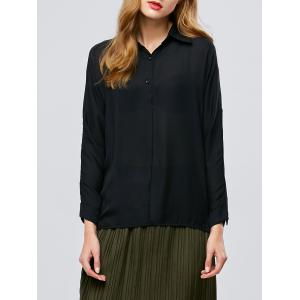 Buttoned Long Sleeve High Low Blouse