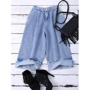 High Waist Ombre Wide Leg Jean Pant - Blue - S
