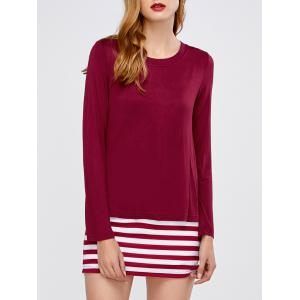 Striped Jewel Neck Long Sleeve Tee
