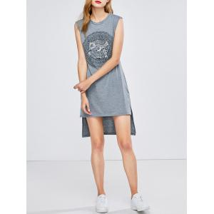 Printed High Low Casual Tank Tee Dress