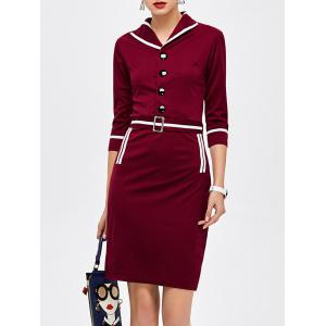 Sailor Knee Length Pencil Dress - Wine Red - L