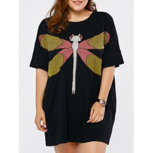 Plus Size Dragonfly Embroidered Short Dress - Black - One Size