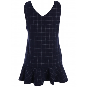 Drop Waist Ruffle Plaid Sleeveless Dress - PURPLISH BLUE 4XL
