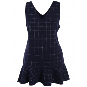 Plus Size Drop Waist Ruffle Plaid Sleeveless Dress