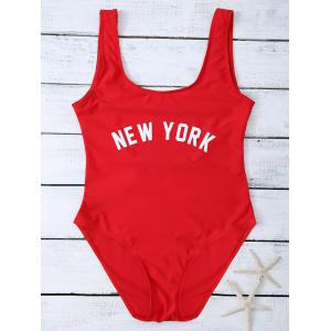 High Cut Letter Unlined One Piece Swimsuit