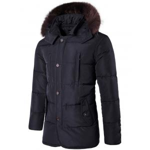Furry Hood Single Padded Breasted Down Coat