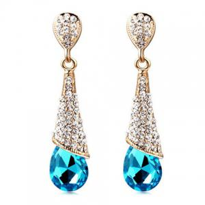Rhinestoned Teardrop Fake Crystal Earrings - Blue