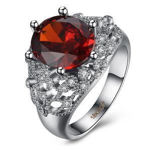 Rhinestone Artificial Ruby Ring