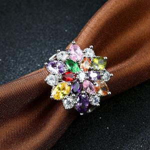Rhinestone Artificial Gem Flower Ring - SILVER 9