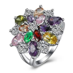 Rhinestone Artificial Gem Flower Ring - Silver - 7