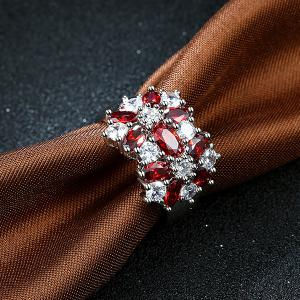 Rhinestone Artificial Ruby Flower Ring -