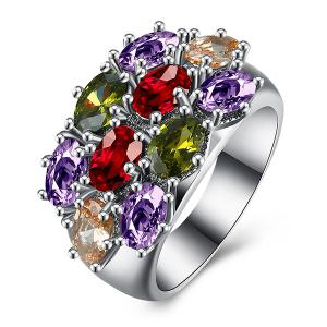 Rhinestone Oval Artificial Gem Ring