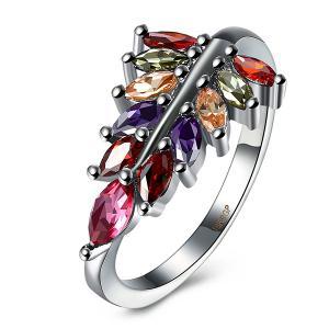 Artificial Gem Leaf Ring