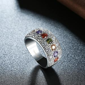 Artificial Gem Rhinestone Round Ring -