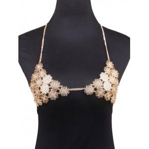 Rhinestone Flower Bra Beach Body Jewelry - Golden
