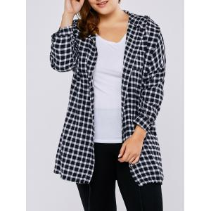 Plus Size Hooded Letter Print Plaid Blouse - Black - Xl