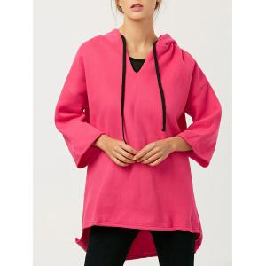 Wool Blend High-Low Long Hoodie - Red - One Size