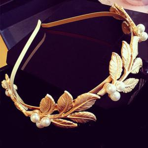 Artificial Pearl Tree Leaves Hairband - Golden