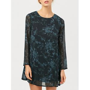 Floral Jacquard Long Sleeve A Line Tunic Dress