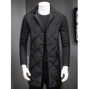 Revere Collar Button Up Diamond Padded Quilted Coat - Black - M
