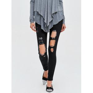 Dark Wash High Rise Destroyed Jeans - Black - M
