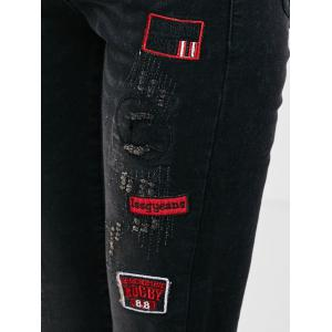 Patched Embroidered Skinny Jeans -